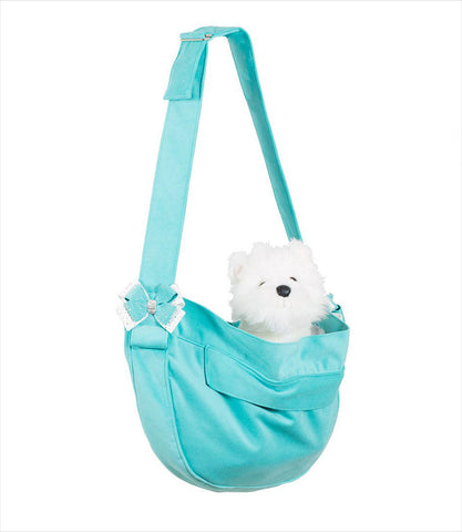 Susan Lanci Bimini Blue and White Stardust Nouveau Bow Cuddle Carrier