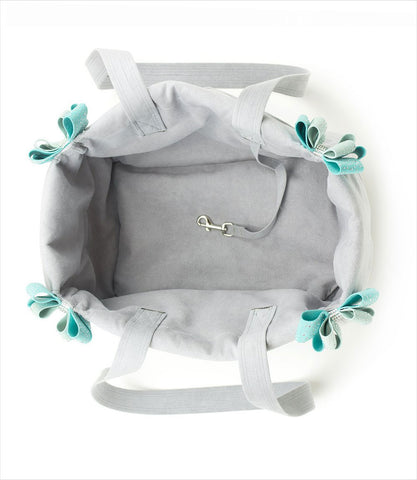Platinum Luxury Pet Carrier with Blue Nouveau Bows