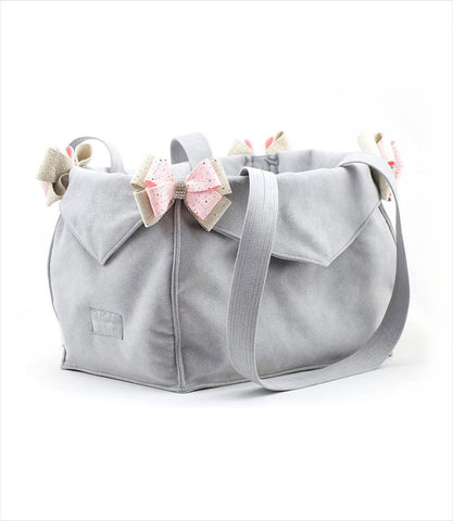 Platinum Luxury Pet Carrier with Doe and Pink Nouveau Bows