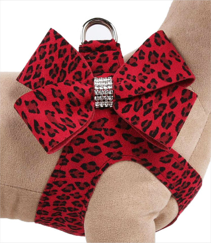 Susan Lanci Red Cheetah Couture Nouveau Bow Step-In Dog Harness