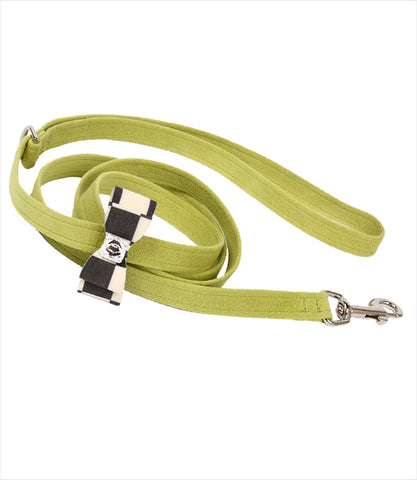 Windsor Check Big Bow Dog Leash in Lime