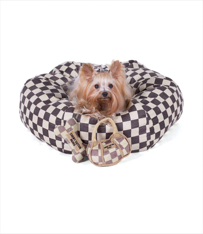 Yorkie on Windsor Check Luxe Suede Dog Bed
