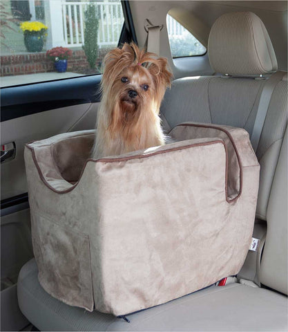 Buckskin Small Dog Car Seat with Yorkie