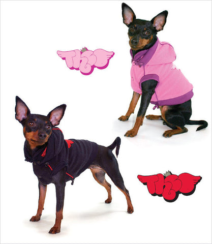 Theo Fleece Dog Vest in Black and Pink