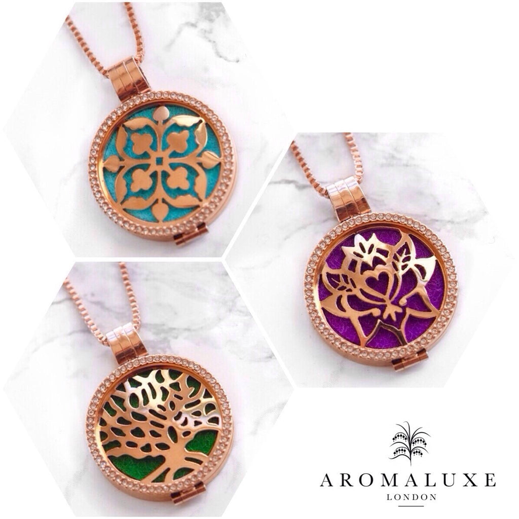 Round Rose Gold Premium (35mm) Aromatherapy / Essential Oils Diffuser Locket Necklace + 3 Insertable Plates, Bag and 9 Diffuser Pads - AromaLuxe London - 1