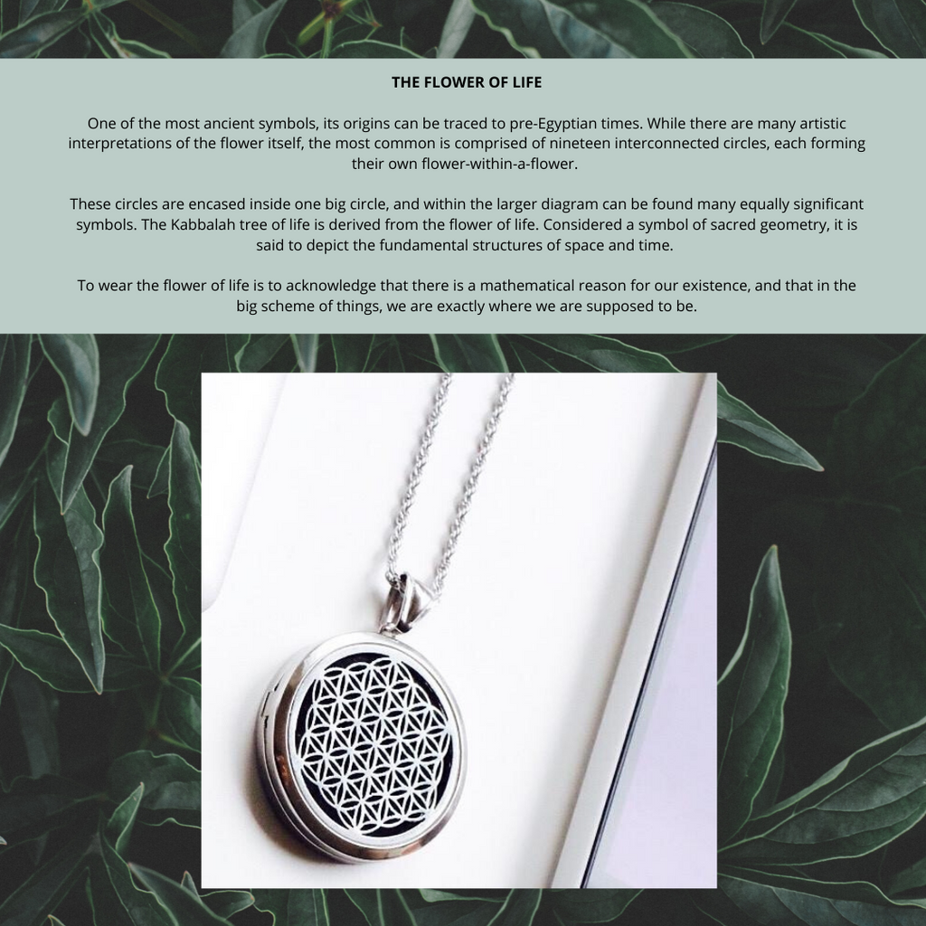 (009) Unisex for Men and Women - Larger Round Silver Flower of Life (35mm) Aromatherapy / Essential Oils Diffuser Locket Necklace