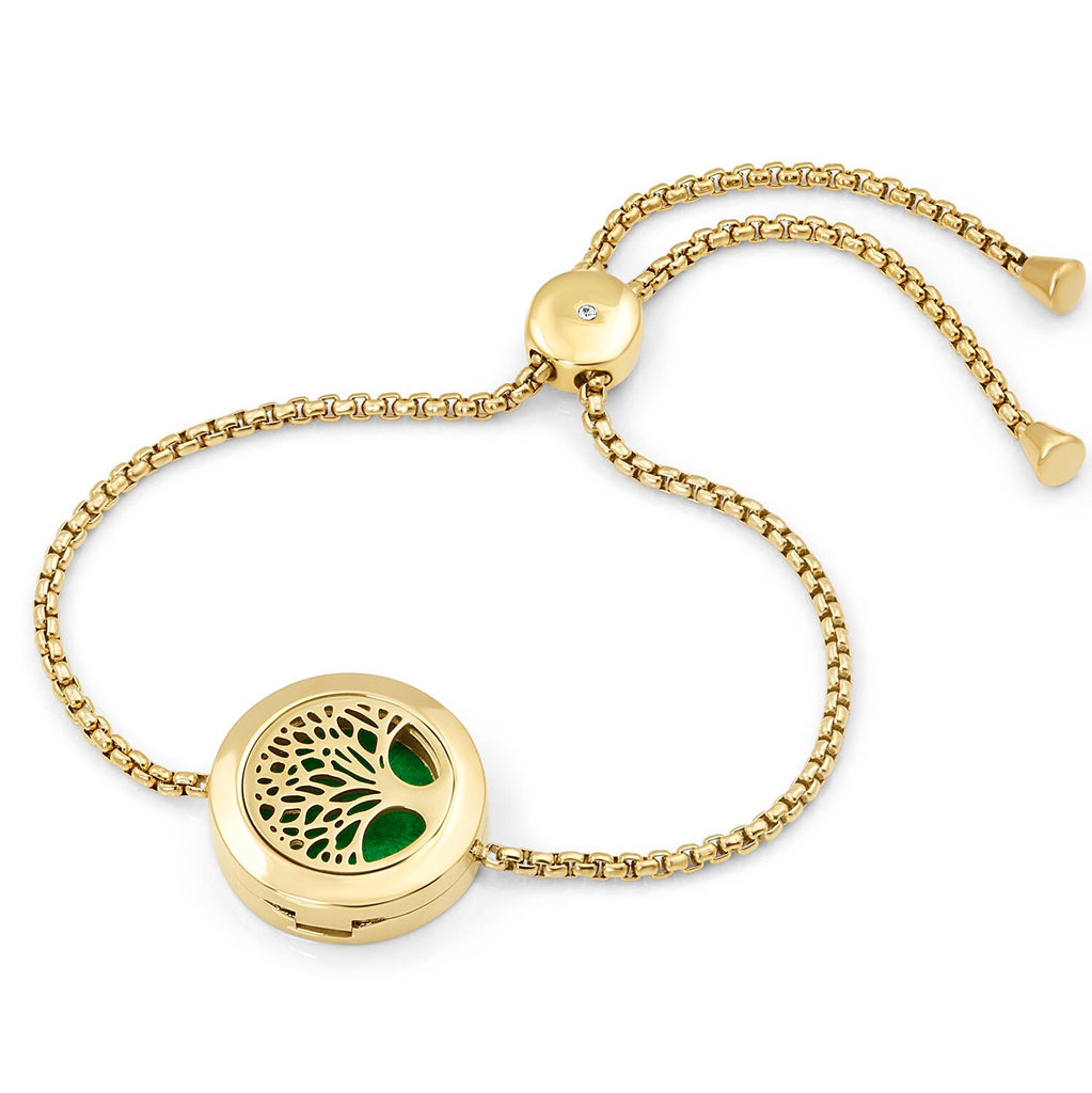 Adjustable Tree of Life diffuser bracelet with rope chain