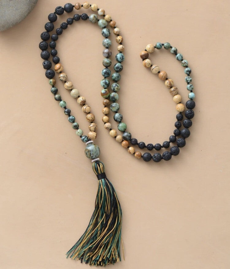 Lava Mala with Natural Stones and Tassels