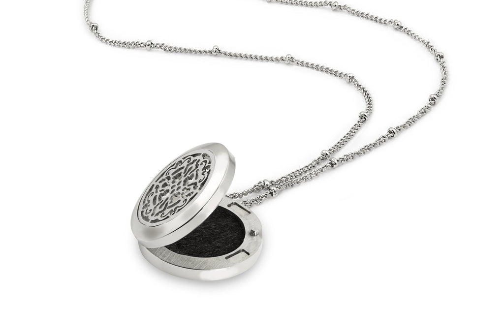 Round Silver Old World Cross (25mm) Aromatherapy / Essential Oils Diffuser Locket Necklace -  - 4