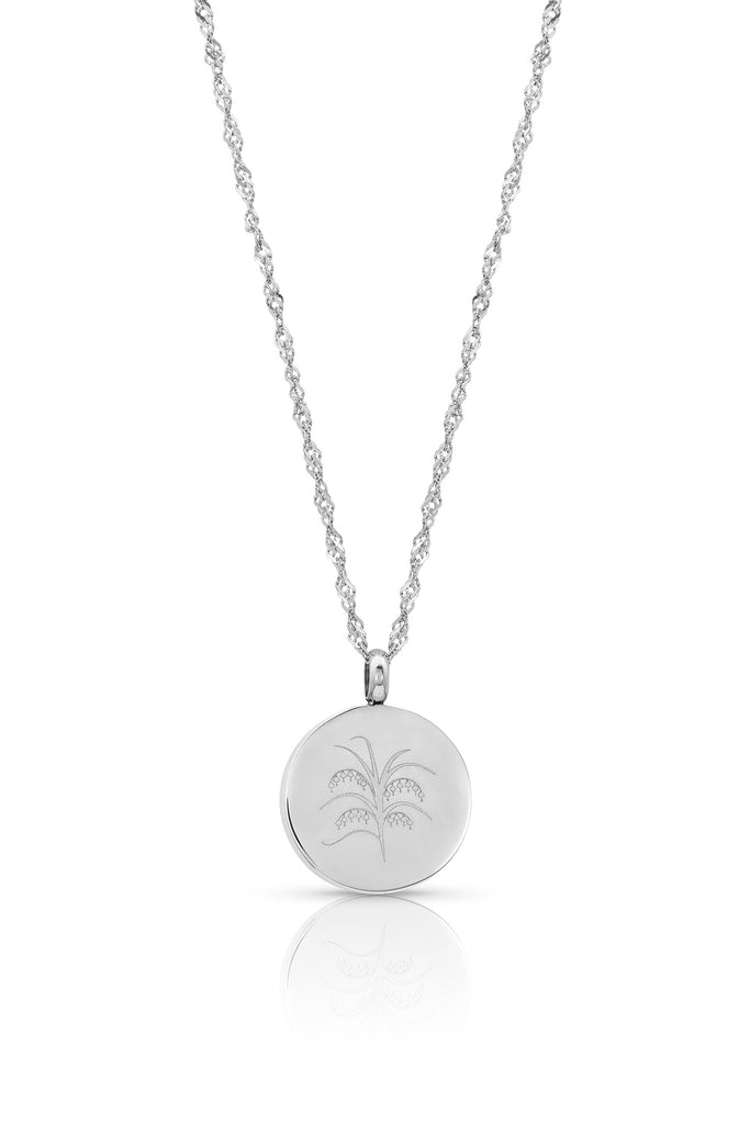 (122) Flowerburst (smaller) diffuser necklace - 20mm, 9 pads, shorter diamond cut necklace (Silver)