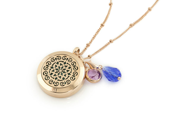 Round Rose Gold Moroccan (25mm) Aromatherapy / Essential Oils Diffuser Locket Necklace -  - 1