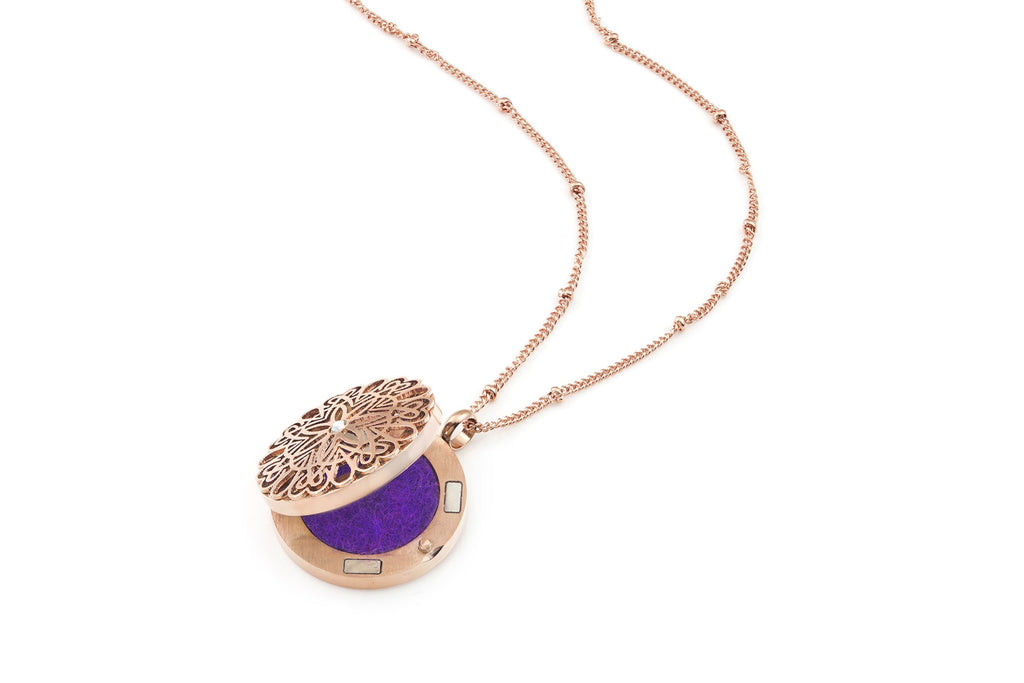 Flowerburst style Rose Gold Diffuser necklace