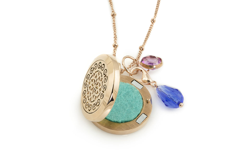 Round Rose Gold Moroccan (25mm) Aromatherapy / Essential Oils Diffuser Locket Necklace -  - 2