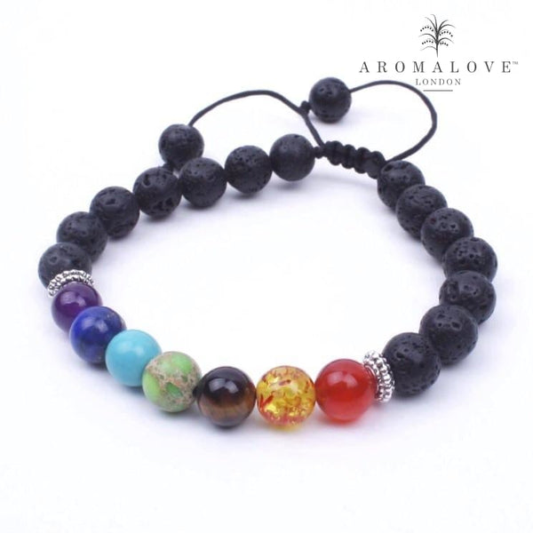 Chakra & Lava Diffuser Bracelet - adjustable string, silver spacer
