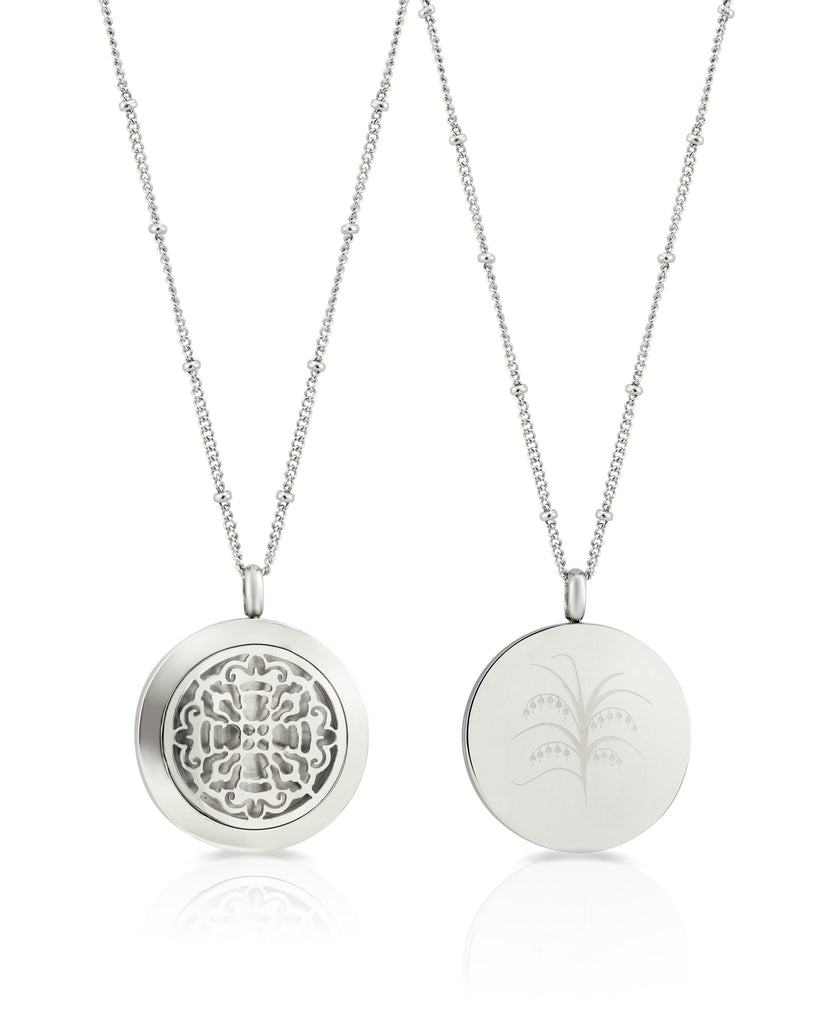 Round Silver Old World Cross (25mm) Aromatherapy / Essential Oils Diffuser Locket Necklace -  - 2
