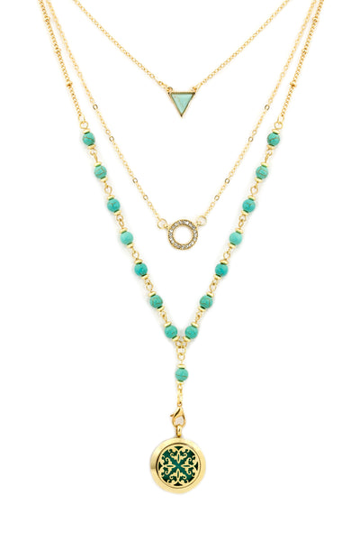 (011) Turquoise and Gold Multi Layer Diffuser Necklace