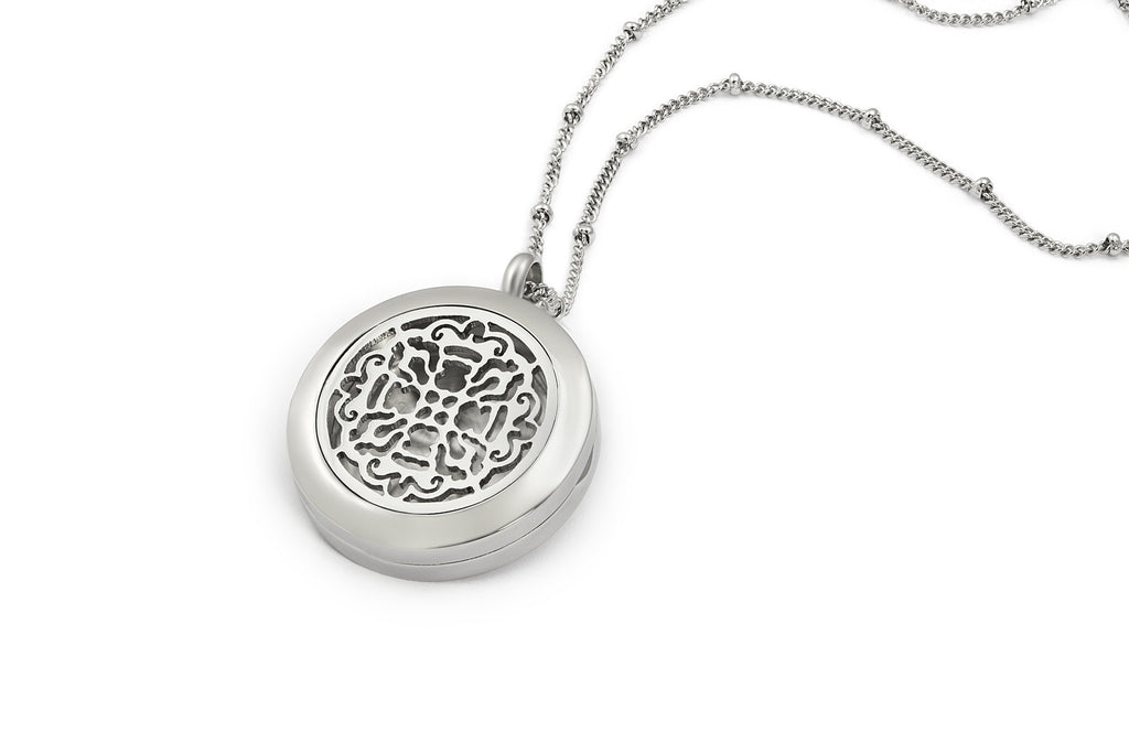 Round Silver Old World Cross (25mm) Aromatherapy / Essential Oils Diffuser Locket Necklace -  - 1