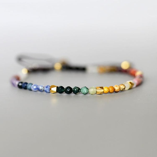 Chakra coloured tiny beaded bracelet - multi semi precious stones