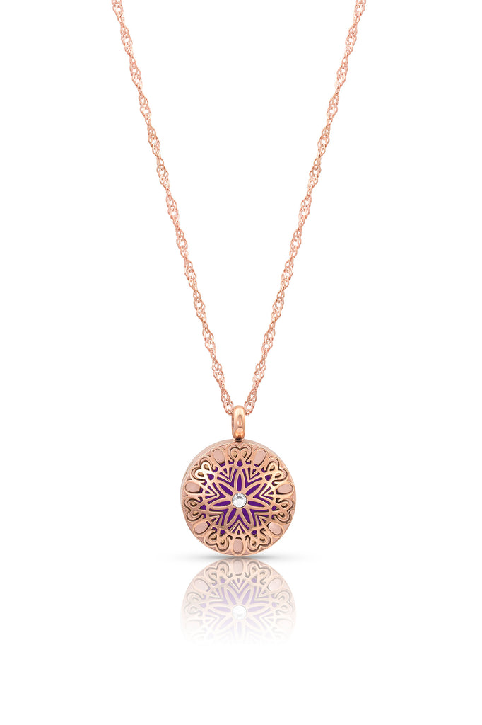 (121) Flowerburst (smaller) diffuser necklace - 20mm, 9 pads, shorter diamond cut necklace