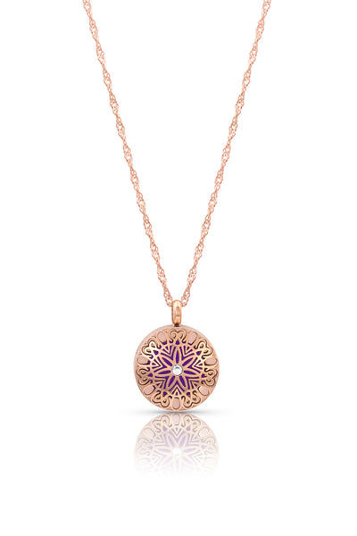 Flowerburst (smaller) diffuser necklace - 20mm, 9 pads, shorter diamond cut necklace