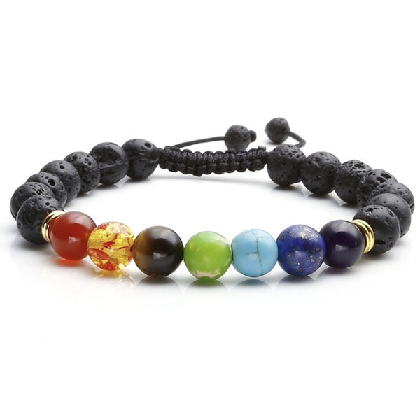 Chakra & Lava Diffuser Bracelet - adjustable string, gold spacer