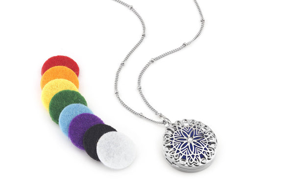 Flower burst style Silver Diffuser Necklace