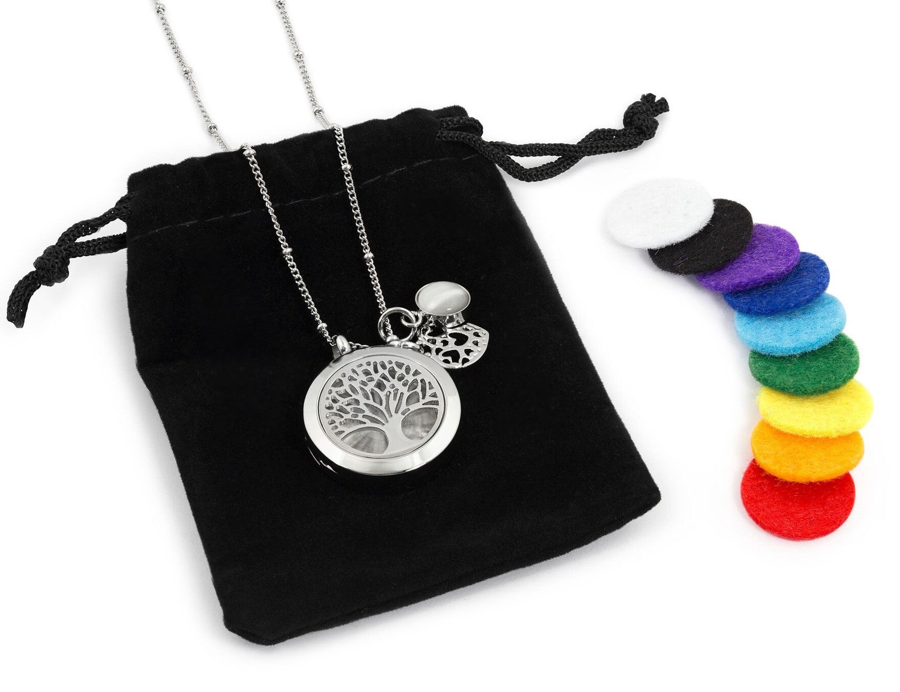 Diffuser silver necklace with tree of life and namaste charm