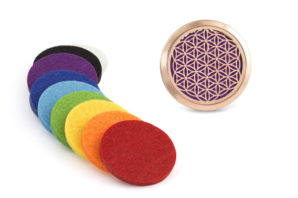 Flower of Life Car Diffuser Set - 9 washable diffuser pads.