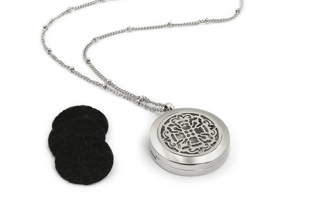 Round Silver Old World Cross (25mm) Aromatherapy / Essential Oils Diffuser Locket Necklace -  - 5