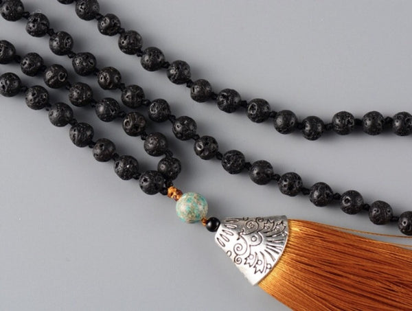 6MM Lava stone Mala with Flat Tassel