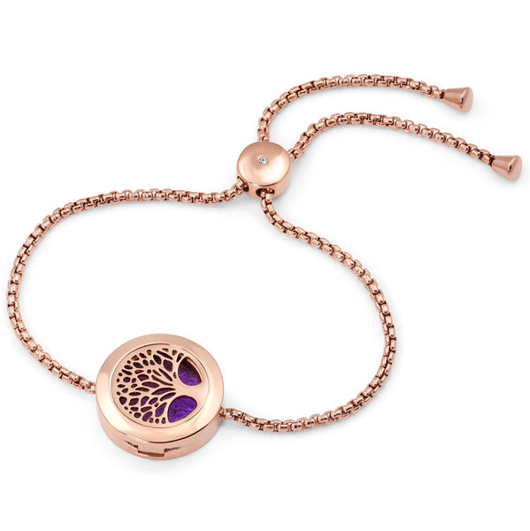 Adjustable Tree of Life diffuser bracelet with rope chain - Silver, Gold, Rose Gold