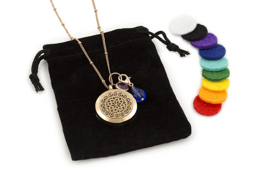 Round Rose Gold Moroccan (25mm) Aromatherapy / Essential Oils Diffuser Locket Necklace -  - 5