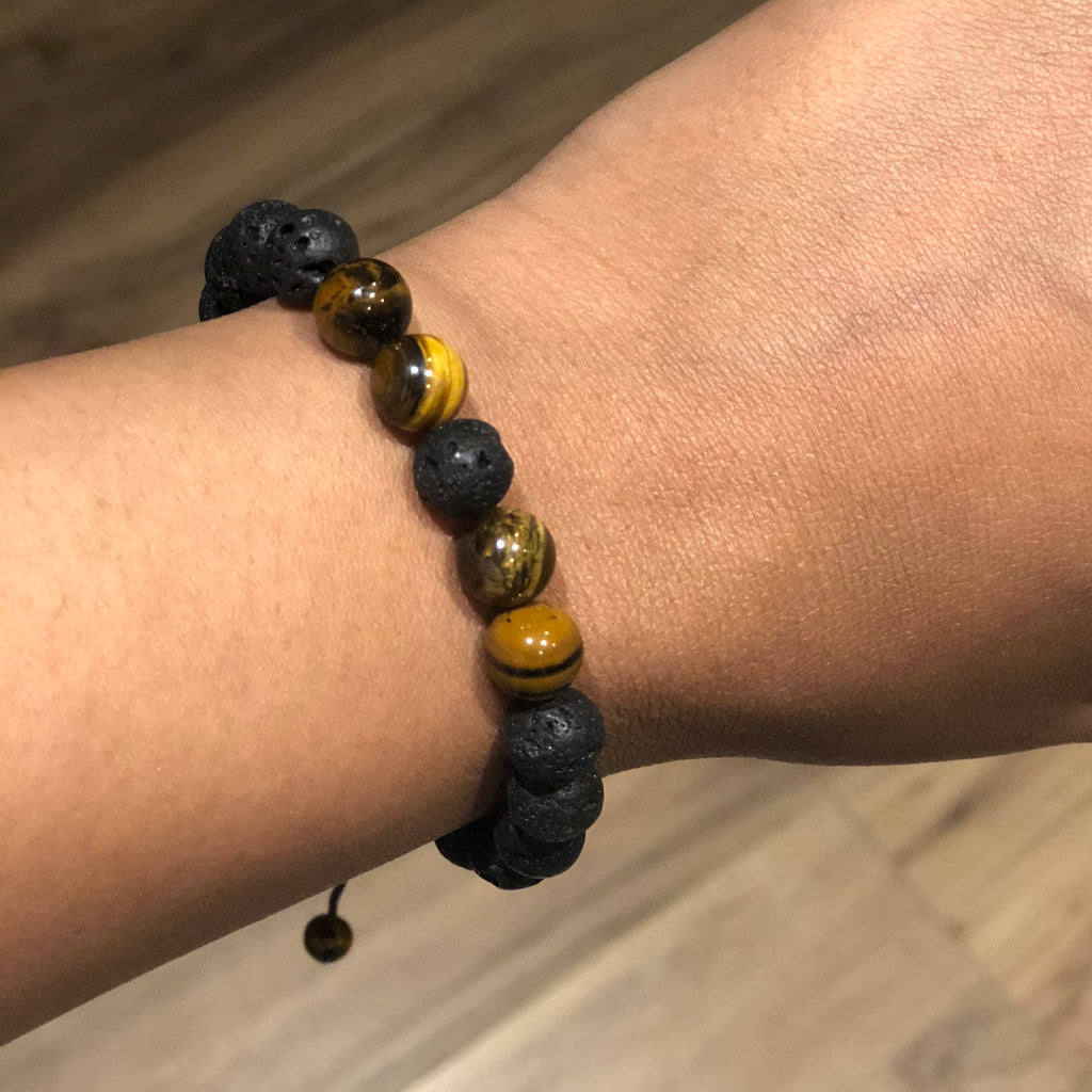(058) Adjustable Tiger Eye Lava Bracelet