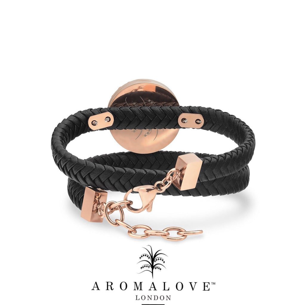 Rose Gold & faux leather double wrap diffuser bracelet / choker