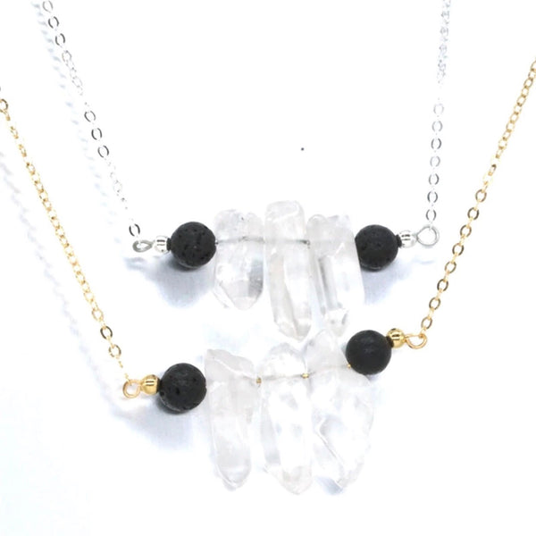 (114) Lava & clear quartz necklace