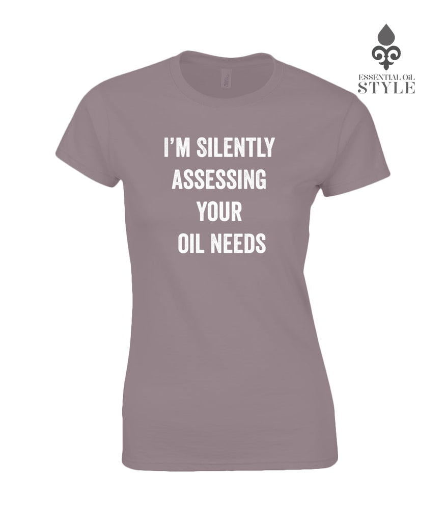 "Gildan SoftStyle® Ladies Fitted Ringspun T-Shirt - ""Silently Assessing Your Oil Needs"" by Essential Oil Style"