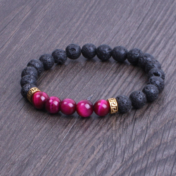Lava Stone Bracelet with gold spacer