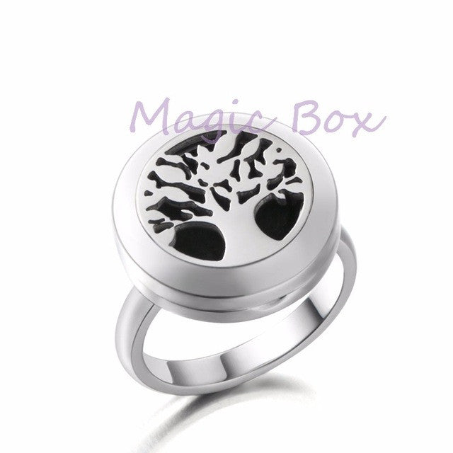 Stainless steel Aromatherapy Essential Oil Diffuser Ring with 8-colour cotton pads