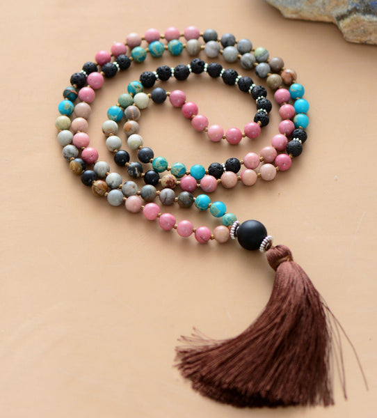 108 Beads Mala 6MM Natural Stone Lava Beads with Tassel