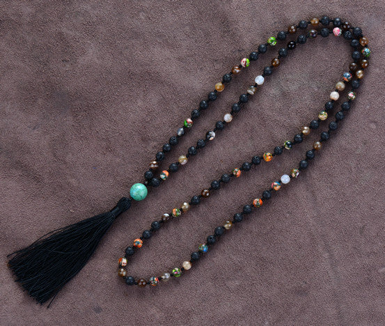6MM Black Lava Stone & Onyx Beaded Tassel Mala