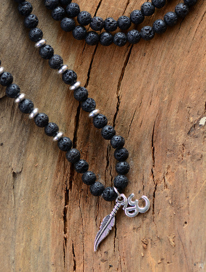 6MM Lava Stone & Antique OM, Feather Charm Pendant Mala