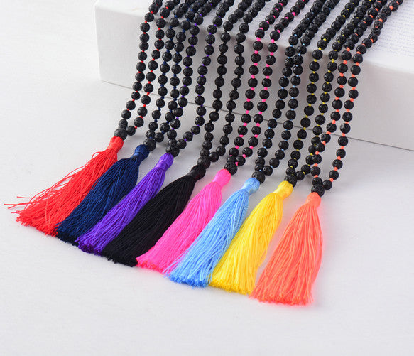 Lava Rock Mala with brightly coloured tassels