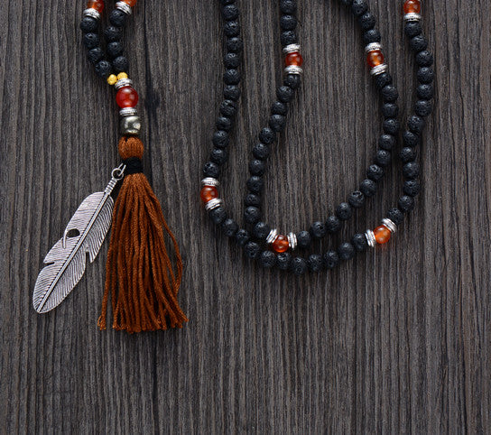 6MM Lava Stone & Onyx beaded Mala with Leaf Pendant & Tassel