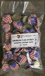 American Flag Oxygen-Barrier Crown Caps, Bag of 144