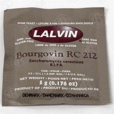 Lalvin Dry Wine Yeast: RC 212 5 gram Packet