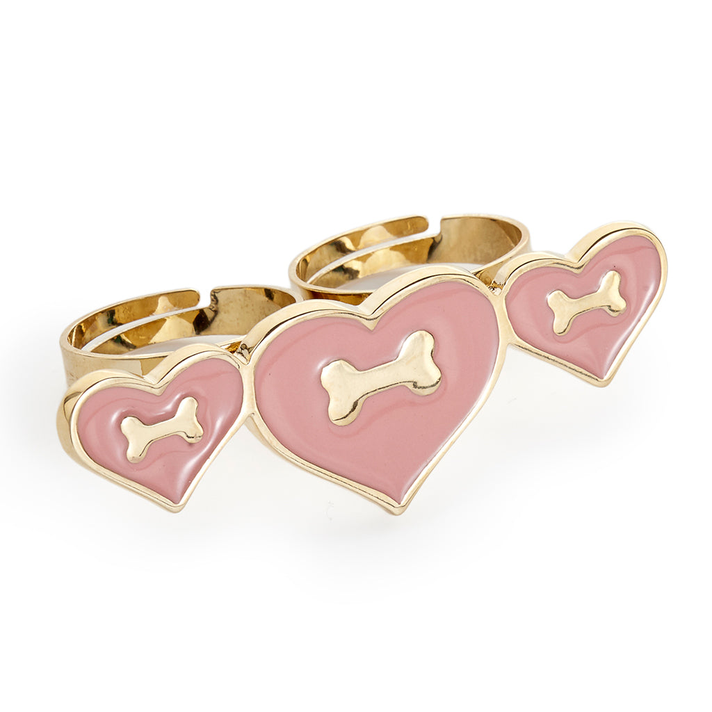 Heart & Bone Double Finger Ring - Fifi & Romeo