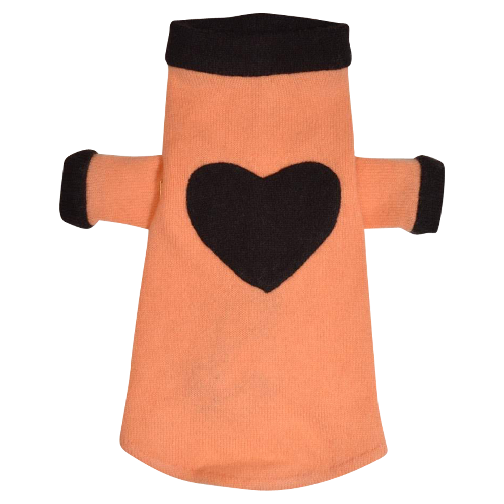 Heart Sweater - Orange & Brown