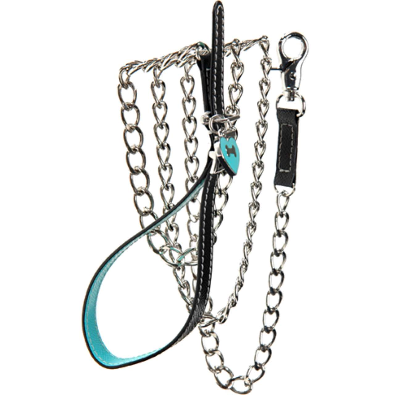 Black & Aqua Leather Leash - Fifi & Romeo