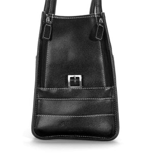 Black Wool & White Leather Tote