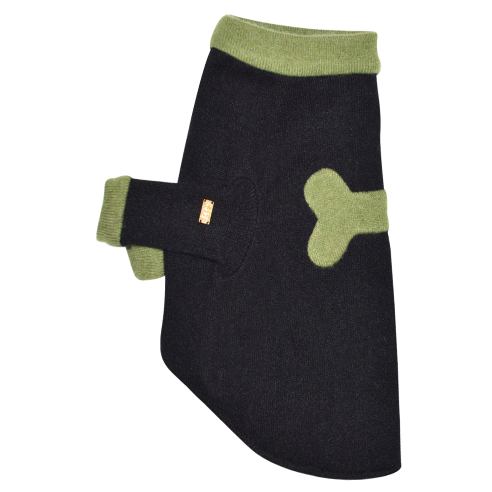 Bone Sweater - Black & Green - Fifi & Romeo